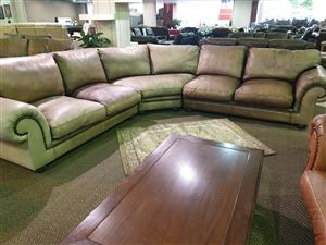 Coricraft 100% Genuine Exotic Leather corner lounge suite for sale R 27950