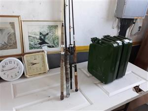 Fishing rods and jerry cans