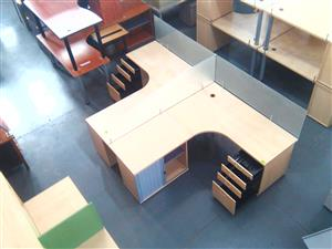 2 Way cluster desk with credenza,pedestal and dividers