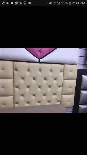 White pillow type material headboard