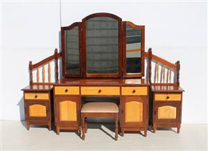 3 Piece Imbuia and Yellow Wood Bedroom Suite