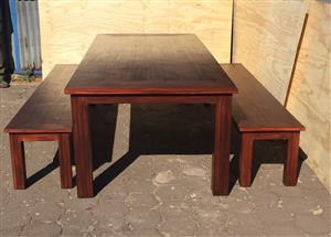 Patio table Chunky Cottage series 2700 with square legs Combo - Stained