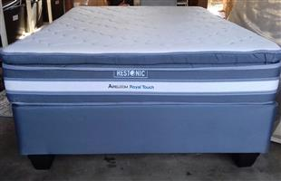 Extra Length Restonic Aireloom Pillow Top Double Mattress and Base Set