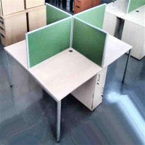 4 Way cluster desk plus dividers/2door cabine tshale oak