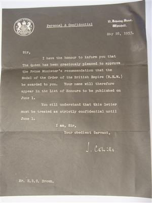 Old Letter from 10 Downing St to Mr H S S Brown