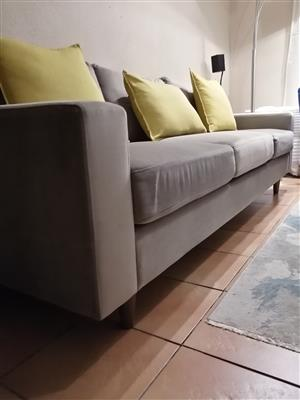 3 Seater Velvet Grey Couch/Sofa R4.3