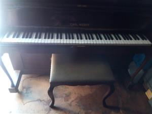 Carl weber upright piano with stool