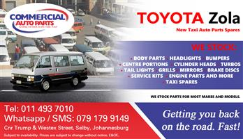 Toyota Zola Budd Parts and Spares For Sale.