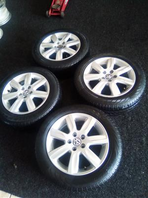 14 inch VW polo x4 rims with used tyres R5000 a set.