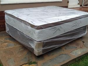 New Restonic Queen Size Pillowtop Mattress and Base Set