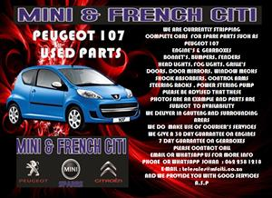 Peugeot 107,206 ,206cc Used Engine Parts for sale