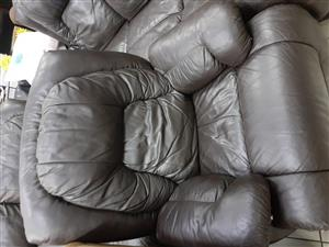 3 Piece Leather Upper Recliner
