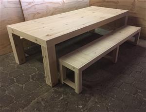 Patio table Chunky Farmhouse series 2600 with pillar legs Combo - Raw