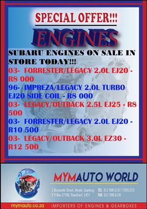 MYM AUTOWORLD WEEKLY SPECIALS AVAILABLE IN STORE TODAY, COMPLETE SECOND HAND SUBARU ENGINES FOR SALE AT MYM AUTOWORLD, Alberton, Alrode, Germiston, Vereeniging, Van de Bijl, Soweto, Johannesburg, Gauteng, South Rand
