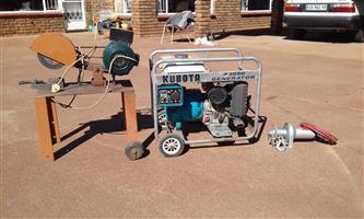 Cut off Machine, Kubota 3Kw Generator & Winch