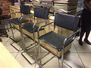 5 Leather/Chromed Bar Chairs
