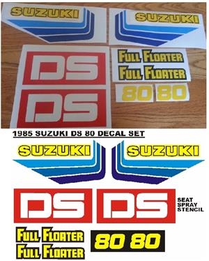 Decals Graphics stickers sets for a 1985 Suzuki ds 80 motorcycle.