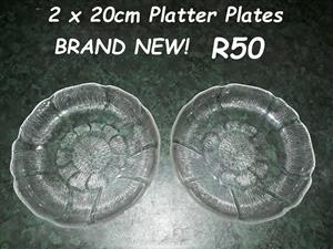 Brand new glass platter plates