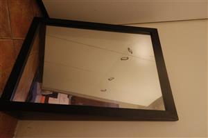 Large mirror, with dark wooden frame