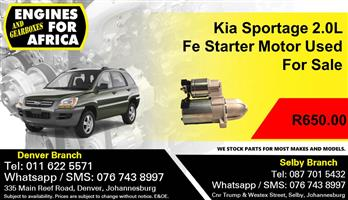 Kia Sportage 2.0L Fe Starter Motor Used For Sale.