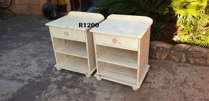 Set of Self Decorating Pine Bedside Tables (515x430x610)