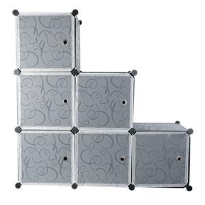Hazlo 6 Compartment Modular Cubical Home Storage Rack Organizer Holder - Black