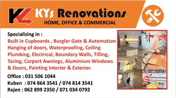 KYS RENOVATIONS :  HOME / OFFICE / COMMERCIAL / PRIVATE