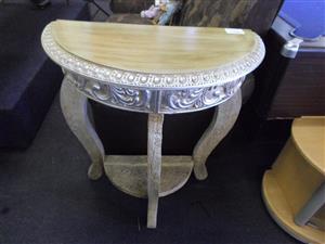 Wooden Golden Beige Half Moon Side Table