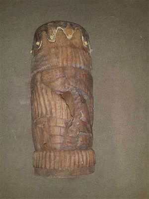 African Tribal Drum - hand carved and with a leather skin top