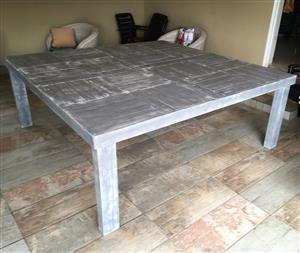 Patio table Farmhouse series 2000 square Grey Weathered
