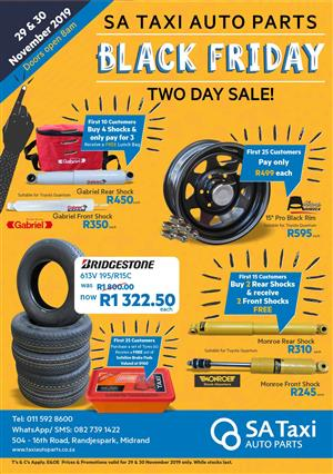 SA Taxi Auto Parts Exclusive BLACK FRIDAY Deals on New and Used Taxi Parts