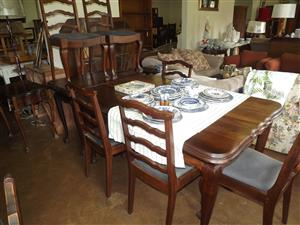 Ball and claw diningroom table and six chairs