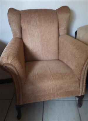 Wingback chair, gold striped dralon