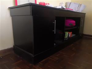 TV Wall Unit Stand, Black Wooden Cabinet R800