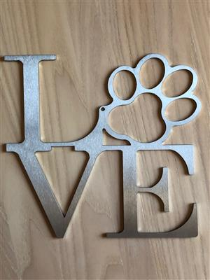 DOG LOVE STAINLESS STEEL SIGN