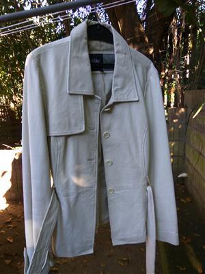 Stylish beige ladies nappa leather jacket size 38 for sale