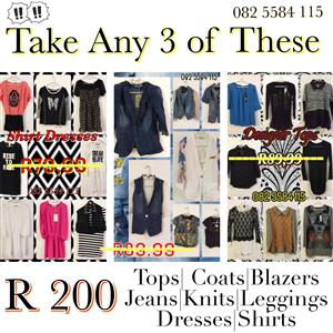 SALE - SALE - Take 3 for R100 - NEW Ladies Range