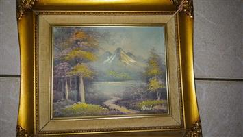 Yellow tree mountain scene framed painting