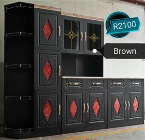 Red and dark brown kitchen units