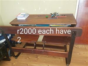 2 Old wooden school desks