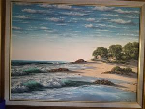 Paul Munro sea and shore landscape painting large