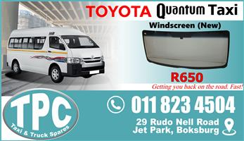 Toyota Quantum Windscreen - New - New & Used Replacement Taxi Spare Parts.