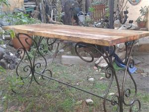 RUSTIC TABLE SERVER (Wood & Iron Statement Piece)