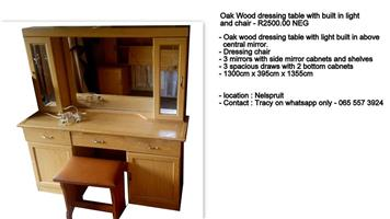 Oak wood dressing table with built in light