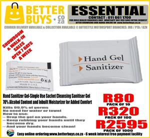 Hand Sanitizer Gel-Single Use Sachet Cleansing Sanitiser Gel – 70% Alcohol