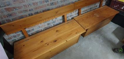 2 x Solid Pine Monks Bench with under seat Storage