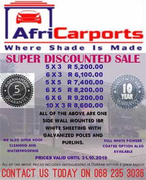 Carports / Shadeports Super Discounted Sale