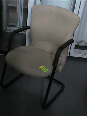 Beige fabric visitor chair   `