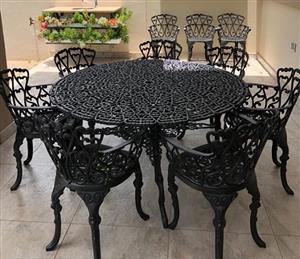 Black wrought iron patio set for sale