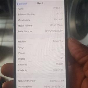 Apple iPhone X 256GB storage